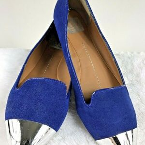 Dolce Vita Flats Blue Vegan Suede Silver Toe